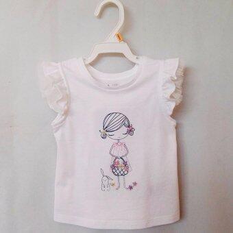 Baby Gap เสื้อแขนระบาย ปักลายด้านหน้า สำหรับสาวน้อย(สีขาว)
