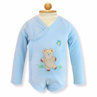 Babybrown ชุดบอดี้สูทเด็ก แขนยาว ขาสั้น สีฟ้า สำหรับเด็กแรกเกิด - 3 เดือน