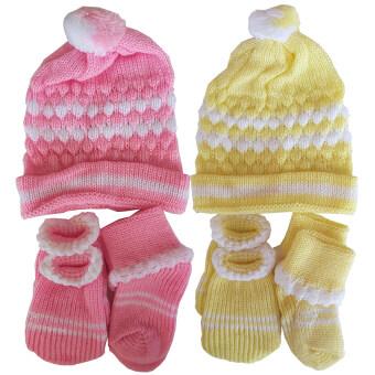 Baby club ชุดไหมพรมเด็กอ่อน หมวก + ถุงมือ + ถุงเท้า - สีชมพู/สีเหลือง (แพ็ค 2)