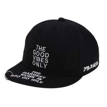 Harga Letter Embroidery Iron Ring Snapback Hat Unisex Baby Baseball Cap Hat(Black) - intl