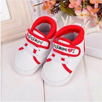รองเท้าเด็กทารก ผ้าใบสีแดง-ขาว I love papa&mama วัย 0-4 เดือน เบอร์ S