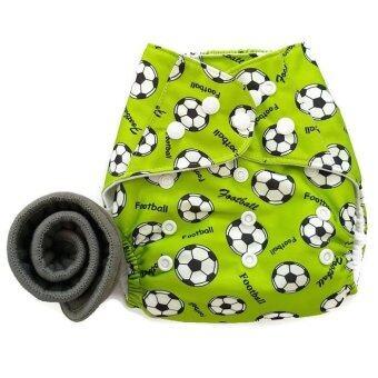 BABYKIDS95 กางเกงผ้าอ้อมกันน้ำ+แผ่นซับชาโคล Size:3-16กก. (Green Footballs)