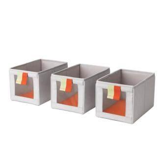กล่องผ้าเอนกประสงค์แบ่งช่องสำหรับเก็บของ สีเทา ส้ม Party Home