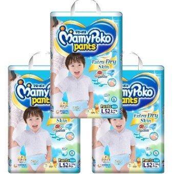 Mamy Poko กางเกงผ้าอ้อม Extra dry skin ไซส์ L 52 ชิ้น สำหรับเด็กชาย (52*3=156ชิ้น)