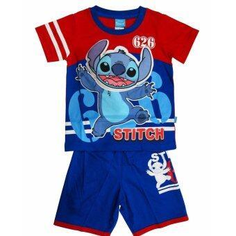 Stitch ชุดเด็ก ผ้าคอตตอน ลาย Stitch สติช (สีแดง-น้ำเงิน)