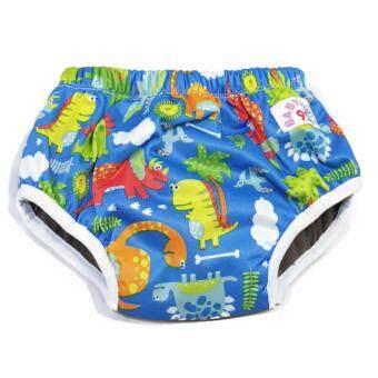 BABYKIDS95 Day Pant ชาโคล ผ้าอ้อมเอวสวม กันน้ำ A18 Size M รอบเอว 14-20 นิ้ว (Dino-Blue)