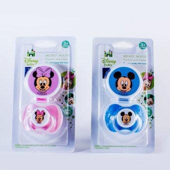 Disney Baby ดิสนี่ย์เบบี้ Micky & Minnie จุกนมแบบกลมดูดเล่นพร้อมสาย ( แพ็ค 2 )