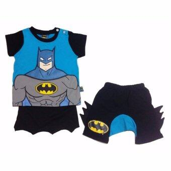 Batman เสื้อผ้าเด็ก ชุดเสื้อและกางเกง มีผ้าคลุมติดด้านหลัง รุ่น - ผ้าฝ้าย 100% - Size S M L XL - A1603