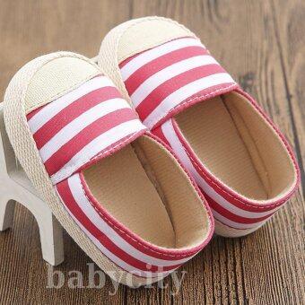 รองเท้าหัดเดิน รองเท้าเด็กอ่อน รองเท้าเด็กพื้นผ้า baby shoe Prewalker ของใช้เด็กอ่อน รองเท้าทารก รองเท้าเด็กเล็ก รองเท้าบูทเด็กอ่อน สีแดง ลายทาง 11 cm