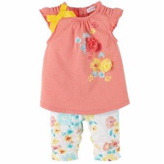 Petit Lem เสื้อสีโอรสแต่งดอกไม้และโบว์พร้อมกางเกงลายดอกไม้เข้าชุด