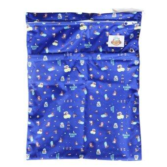 Baboon baby กระเป๋ากันน้ำเก็บกลิ่น 2 ช่องซิป สำหรับพกพากางเกงผ้าอ้อมและแผ่นซับ (สีน้ำเงิน)