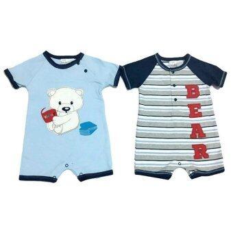 LITTLE BABY M เสื้อผ้าเด็กเล็ก ชุดหมีแพ็คคู่ ลายหมีสีฟ้า