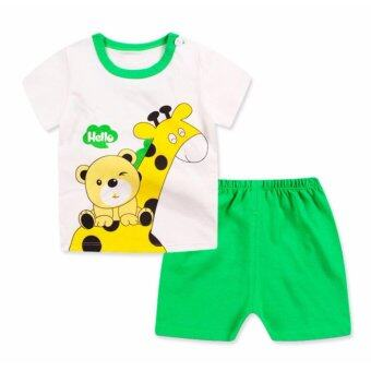 Harga Bear Fashion Baby Boys Girls Hello Giraffe Clothing Kids Summer Clothes 2pcs Set - intl