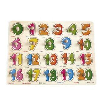 BAANPLOY จิ๊กซอว์หมุดไม้สอนตัวเลข 1-20 พร้อมคำศัพท์