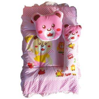 Baby Club ชุดที่นอนเด็กอ่อน ลายหมี ผ้า TC - สีชมพู