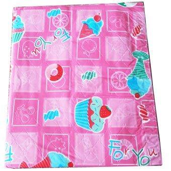 Baby Home ผ้ายางรองที่นอนเด็ก ขนาด 15x15นิ้ว ลายการ์ตูน (สีชมพู)