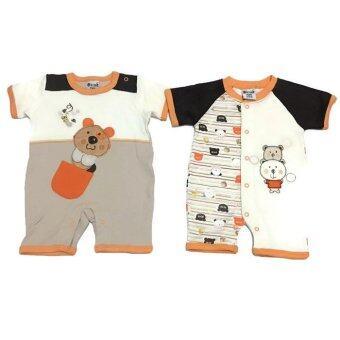 LITTLE BABY M เสื้อผ้าเด็กเล็ก ชุดหมีแพ็คคู่ ลายหมีส้ม