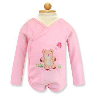 Babybrown ชุดบอดี้สูทเด็ก แขนยาว ขาสั้นสีชมพูสำหรับเด็ก3-6เดือน