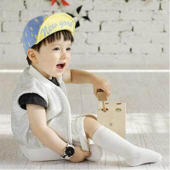 หมวกเด็กเล็ก สีฟ้า-เหลือง สกรีนคำว่า NewYork สำหรับเด็ก 1-2 ขวบ