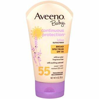 โลชั่นกันแดดสำหรับเด็ก Aveeno Baby Continuous Protection Sunscreen SPF 55, 4 Oz (112g)