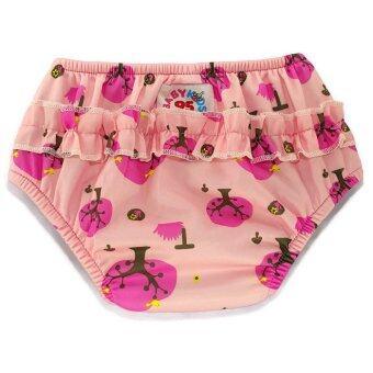 BABYKIDS95 กางเกงผ้าอ้อมว่ายน้ำ มีเป้าซับ เอวสวม สีชมพูลายต้นไม้