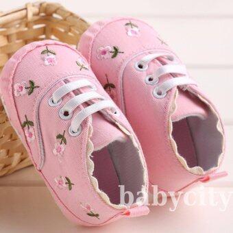 รองเท้าหัดเดิน รองเท้าเด็กอ่อน รองเท้าเด็กพื้นผ้า baby shoe Prewalker ของใช้เด็กอ่อน รองเท้าทารก รองเท้าเด็กเล็ก สีชมพู ลายดอกไม้