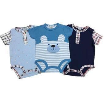 LITTLE BABY M เสื้อผ้าเด็กเล็ก บอดี้สูท set หมีสีฟ้า 3 ตัว