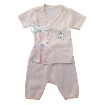 First-wear ชุดเด็กอ่อนแรกเกิด เสื้อผูกหน้าแขนสั้น/กางเกงขายาว, ลายกระต่ายขาว (สีชมพู) ขนาด 0-3 เดือน