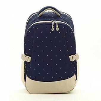 กระเป๋าเป้สะพายหลังสำหรับคุณแม่ กระเป๋าใส่ผ้าอ้อม ขวดนมเด็ก กันน้ำ รุ่น DN083 สีน้ำเงินลายจุด
