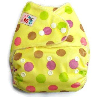 BABYKIDS95 กางเกงผ้าอ้อมเด็ก กันน้ำ รุ่นดีลักส์-ผ้าขนมิ๊งค์ พร้อมแผ่นซับใหญ่ ไซส์เด็ก 3-16กก. สีเหลืองลายวงกลม