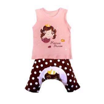Busha G0008-เสื้อกล้ามสีชมพูลายนางเงือก-กางเกงเสริมก้น