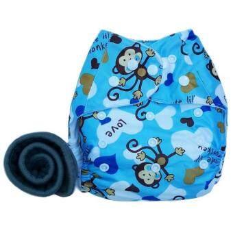 BABYKIDS95 กางเกงผ้าอ้อมกันน้ำ+แผ่นซับชาโคล Size:3-16กก. (Blue Monkey)