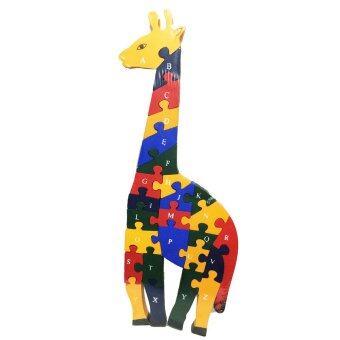 ของเล่นไม้เสริมพัฒนาการสำหรับเด็ก จิ๊กซอว์เรียงเลขและตัวอักษรภาษาอังกฤษรูปสัตว์ (ลายยีราฟ) Wood Toy Girafe