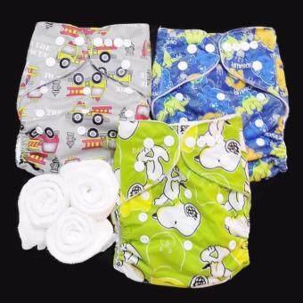 กางเกงผ้าอ้อม กันน้ำ PUL +แผ่นซับไมโครฯ Size:3-16กก. เซ็ท3ตัว A3-3020