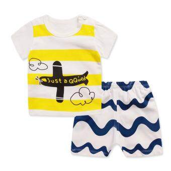Harga Bear Fashion Baby Boys Girls Helicopter Cool Clothing Kids Summer Clothes 2pcs Set - intl