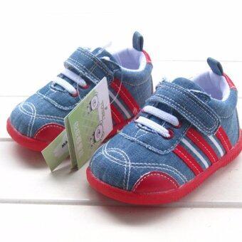 ((พื้นยางกันลื่น/น้ำหนักเบา))รองเท้าเด็กวัยหัดเดิน รองเท้าผ้าใบเด็กสีน้ำเงิน สไตล์สปอร์ต Size 140