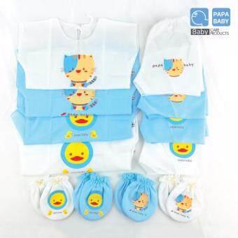Papa Baby ชุดผ้าป่าน เสื้อเด็กอ่อนแรกเกิด แบบผูกหลัง แพ็ค 4 ตัว พร้อมถุงมือ