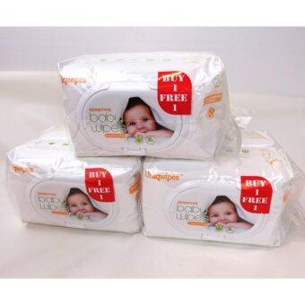 Sensitive Baby Wipes ผ้าเปียก ผิวหน้ารังผึ้ง สูตรใหม่ แบบอ่อนโยน สำหรับเด็กแรกเกิด ถึง ผู้ใหญ่ 3 แพ็ค(6 ห่อ)
