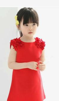 Riko ชุดเดรส เด็กผู้หญิง สีแดง ฟรุ้งฟริ้ง