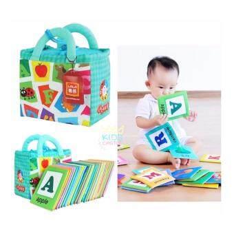 แฟลชการ์ดผ้า ABC แผ่นการเรียนรู้แผ่นภาพคำศัพท์ภาษาอังกฤษและภาษาจีนสำหรับเด็กเล็ก