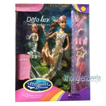 Khonglendee ตุ๊กตานางเงือกคู่แม่ ลูก ชุดสีเงิน Mermaid Princess