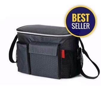 Minlane Kids Thermal Insulation Mommy Bags Waterproof Baby Diaper Bag Stroller Cooler Bag For Stroller Black กระเป๋า เก็บอุณหภูมิ ของใช้ แม่และเด็ก (สีดำ)