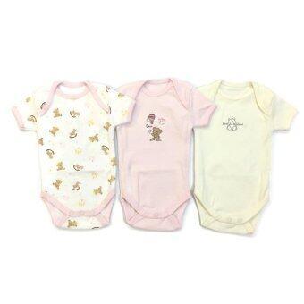 First-wear ชุดเด็กอ่อน Bodysuit ชุดบอดี้สูทแขนสั้น ขนาด 0-3 เดือน แพ็ค 3 ชุด (Set Pink Bear & Friend)