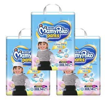 ขายยกลัง! Mamy Poko กางเกงผ้าอ้อม รุ่น Extra Dry Skin ไซส์ XXXL แพ็ค 4 รวม 56 ชิ้น (สำหรับเด็กหญิง)