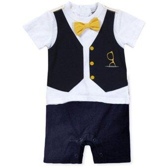 Infant Baby Gentleman T Shirts Bodysuit Summer Short Sleeve SuitClothing Set Newborn Romper Jumpsuit - D