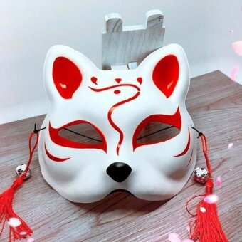 Japanese Fox Half Mask with Tassels and Small Bells Cosplay Maskfor Masquerades Festival Costume Party Show Style:Cat A