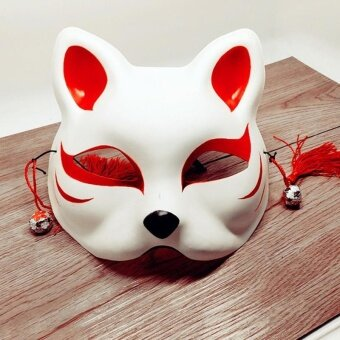 Japanese Fox Half Mask with Tassels and Small Bells Cosplay Maskfor Masquerades Festival Costume Party Show Style:Cat E - intl