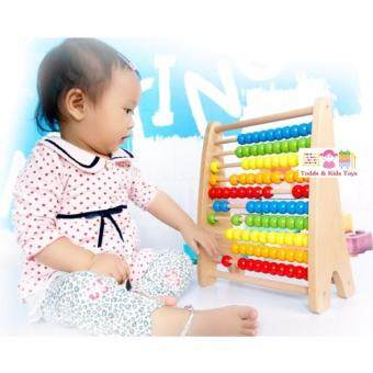JKP Toys ของเล่นไม้เสริมพัฒนาการ ลูกคิด 10 แถว สอนนับเลข (ไม้หนา เเข็งเเรง)