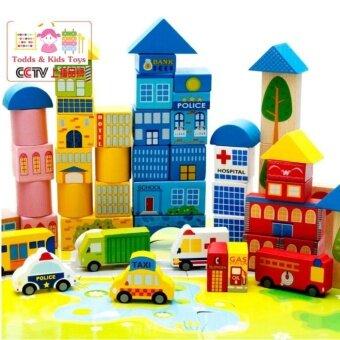 JKP Toys ของเล่นไม้ เสริมพัฒนาการบล็อกไม้สร้างเมือง 100 ชิ้น พร้อมผังเมือง กล่องสีเหลี่ยม