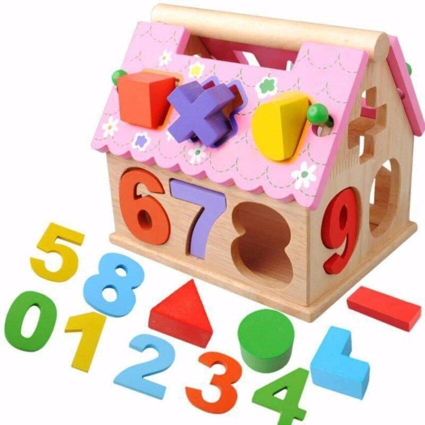 JKP Toys ของเล่นเสริมพัฒนาการ บล๊อกหยอด ตัวเลข บ้านชมพู